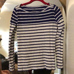 Jcrew long sleeve blue and white striped top
